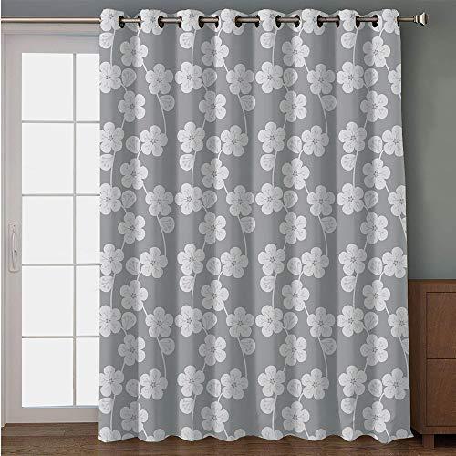 iPrint Blackout Patio Door Curtain,Geometric,Flower Patterned Monochrome Image Petals Bud and Stalks Vintage Foliage Design,Grey Beige,for Sliding & Patio Doors, 102