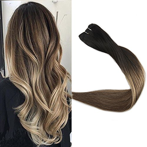 Full Shine 16 inch Remy Balayage Hair Bundles Extensions 100% Real Human Hair Full Head Hair Weft on Extensions Color #1B Off Black Fading to #6 Cheust Brown and #27 Honey Blonde 100Gram Per Package