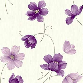 Plum Cream /& Gold Floral Design Wallpaper by Arthouse