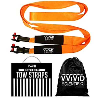 VViViD Heavy Duty Towing Strap 20 Foot Long 3.5 Inch Wide 13 US Ton Capacity Recovery Strap Kit Including Powder Coated Anchor Shackles: Automotive