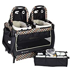 The baby trend twins nursery center playard is the perfect solution for parents with twins. It features two removable rock-a-bye bassinet side by side, with their own canopy and carry handle, plush fabric and mesh sides for proper ventilation...