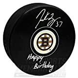 Patrice Bergeron Boston Bruins Signed Autographed Happy Birthday Inscribed Puck