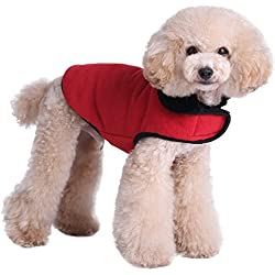Kuoser Cute Furry Fleece Lining Dog Vest Winter Coat Warm Dog Apparel for Cold Weather Dog Jacket for Small Medium Large dogs with Furry Collar ( S - 2XL ),Red XL