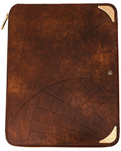 D Line Llg' Shoot The Moon Brown Leather & Yellow Gold Conference Pad by S.T. Dupont