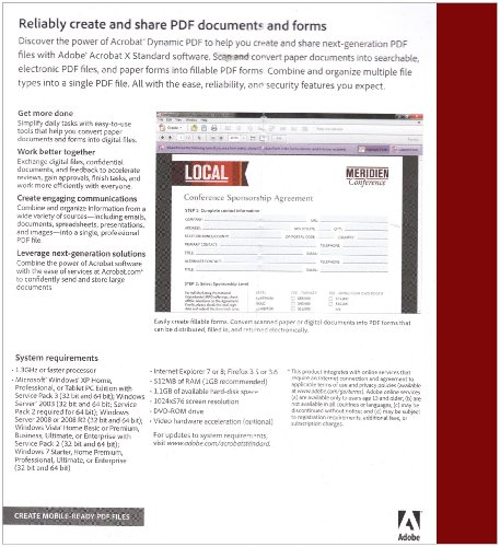 Adobe Acrobat X, Standard Version (PC)