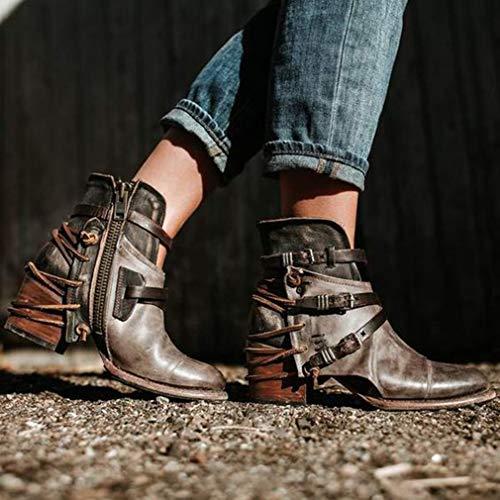 Eclair Kaki Femme Cuir Bottine Noir Hiver Automne Antidérapant 36 Mode Tailles Pointu Bottes En Chaussures Boots Fermeture Talon 43 noir Bloc ZZw0v