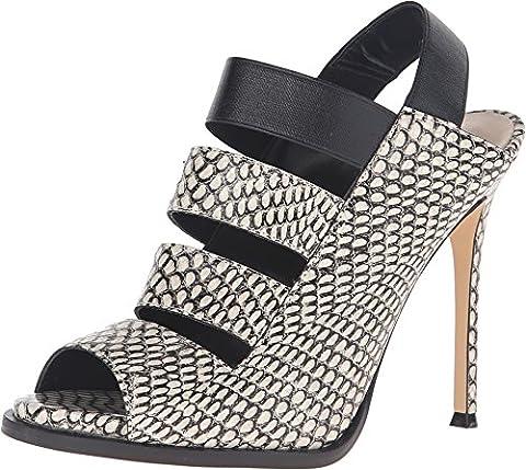 Nine West Women's Hallan Leather Dress Sandal, Black/White, 10 M US