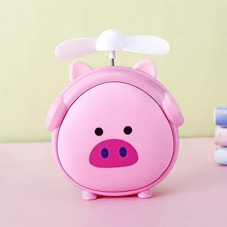 chmhy Ventilador De Luz Nocturna Portátil USB De Carga Ventilador Eléctrico Juguete De Dibujos Animados con Niños Rosa con Luces: Amazon.es: Hogar