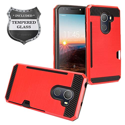 T-Mobile REVVL 5.5 5049W, Alcatel A30 Fierce 5049Z, A30 Plus 5.5 5049S, TCL LX2 - Brushed Hybrid Hard Case with Card Slot + Tempered Glass Screen Protector - CS2 Black/Red