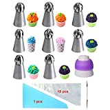 WEBSUN Russian Ball Piping Tips 21 PCS Cake Decorating Set, 8 Stainless Steel Sphere Ball Piping Tips 1 Tri-Color Coupler 11 Pastry Bags 1 Cleaning Brush
