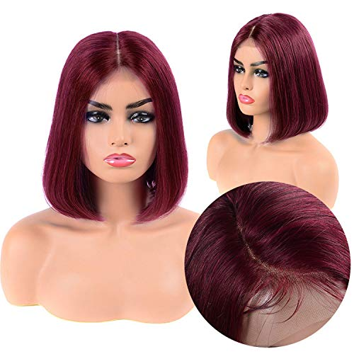 Brazilian Straight Short Bob Wigs Lace Front Human Hair Wigs For Black Women Pre Plucked With Baby Hair,#99J,14Inches]()