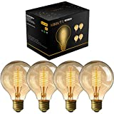 Vintage Edison Light Bulb,Woowtt Dimmable Screw Edison Bulbs,Old Fashioned Style Globe Bulb Retro Spiral Filament Lamp,Warm Light 40W G80 E27 220V - 4 Pack