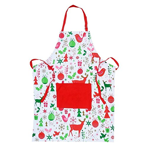 YEKOO Red And White Christmas Chef Aprons With Pockets And Adjustable Neck & Waist ties,Machine Washable,Prefect for Cooking,Baking,Crafting,100% Natural Cotton