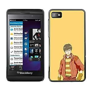 KLONGSHOP // Cubierta de piel con cierre a presión Shell trasero duro de goma Protección Caso - Páramos - Blackberry Z10 //