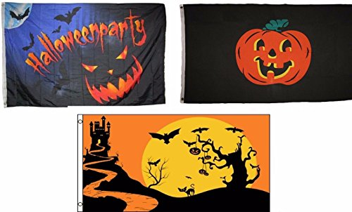 ALBATROS 3 ft x 5 ft Happy Halloween 3 Pack Flag Set #85 Combo Banner Grommets for Home and Parades, Official Party, All Weather Indoors Outdoors ()