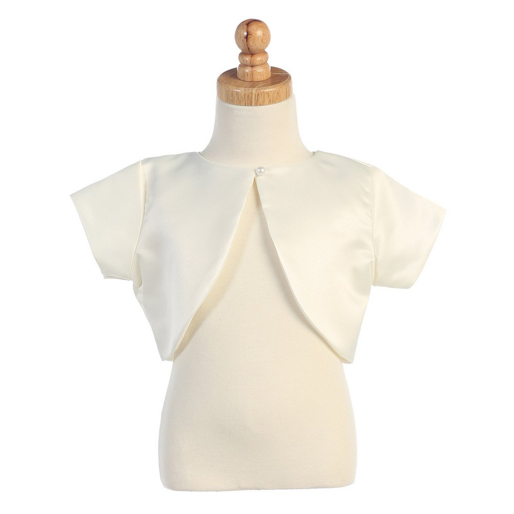 Lito Little Girls Ivory Satin Special Occasion Bolero Shrug 4-5