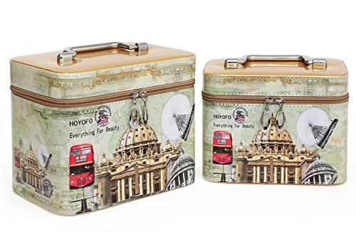 Print Train Case - HOYOFO Cosmetics Bag and Makeup Train Case (2 Bags/set),Print Gold