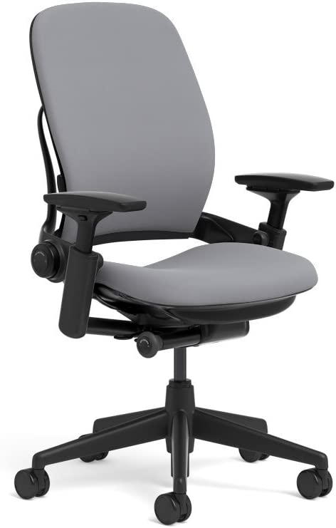 Steelcase Leap Ergonomic Office Chair with Flexible Back | Adjustable Lumbar, Seat, and Arms | Black Frame and Buzz2 Grey Fabric