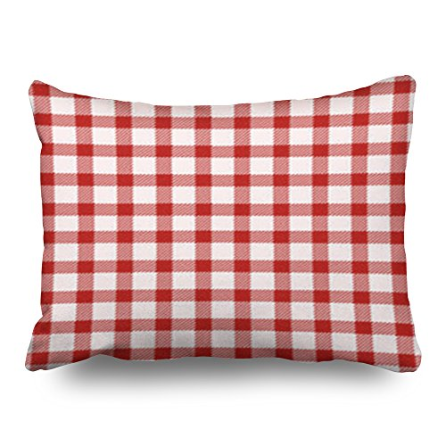 TonTong Design Red White Tablecloth Textures Picnic Objects Gingham Checked Custom Throw Pillow Covers 20x26 Inches Rectangular Home Decorative Pillow Cases Decor Cushion Covers -