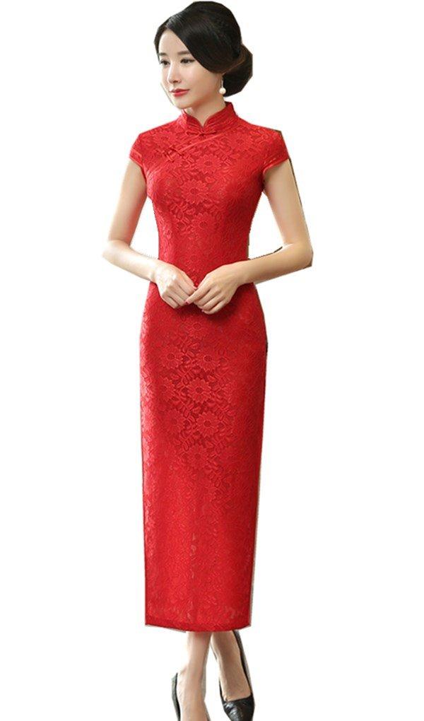 Shanghai Story Chinese Wedding Dress Long Cheongsam Lace Qipao Red 2