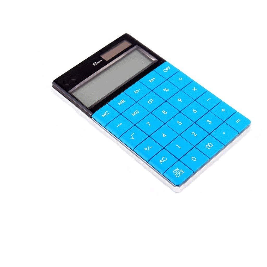 MSJFUBANGBM Calculator LED Screen Dual Power 12-Digit High-Definition Display Multi-Function Office Portable Test Scientific Calculator (Color : Blue) by MSJFUBANGBM