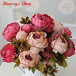 Roossys Flower Wedding for Bride Flower Decorations for Party Flowers Artificial Wholesale Silk Flower European Bouquet Artificial Flowers Vivid Peony Fake Leaf Home Decoration 15