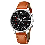 Zaidern Watches Men,Men's Watch Fashion Luxury Casual Military Alloy Analog Quartz Wristwatches Classical Business Dress Retro Simple Design Waterproof Leather Band Round Dial Wrist Watches