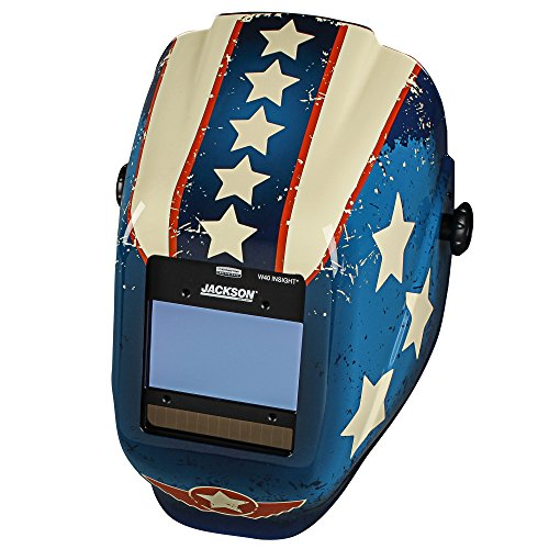 Jackson Safety Insight Variable Auto Darkening Welding Helmet (46101), HLX, 370 Comfortable Headgear, Ultra-Light Shell, Stars & Scars, 1 Helmet by Jackson Safety (Image #4)