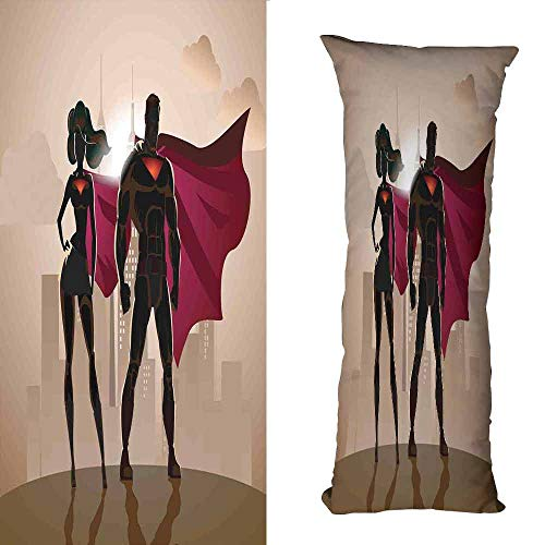 duommhome Superhero Personalized Pillowcase Super Woman and Man Heroes in City Solving Crime Hot Couple in Costume Suitable for Hair and Skin Health W19.6X L59 inch Beige Brown Magenta]()