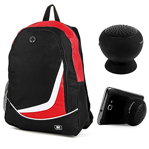 Universal Nylon Backpack (Red) for Hannspree SN14T72, Kocaso GX Series, Visual Land Prestige Elite 13Q 13.3 Laptop with Wireless Suction Speaker (Kocaso Wireless Speaker)