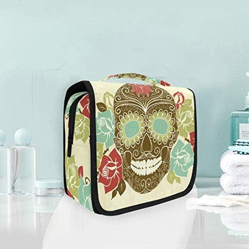 頭蓋骨の花ハンギング折りたたみトイレタリー化粧品袋メイク旅行オーガナイザーバッグケース用女性女の子浴室