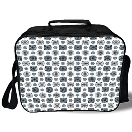 Geometric 3D Print Insulated Lunch Bag,Soft Colored Abstract Plant Design Circles Leaves Dots Eastern Culture Inspired Decorative,for Work/School/Picnic,Indigo White (Hamster Colored Bottle)