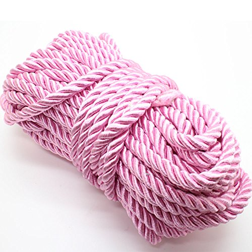 U Pick 10yds 5mm Decorative Twisted Satin Polyester Twine Cord Rope String Thread Shiny Cord Choker Thread (19:Pink) ()