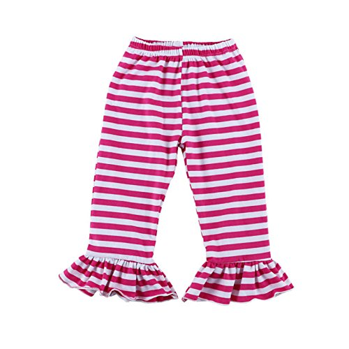 Wennikids Children's Little Girls Ruffle Soft Cotton Flare Pants Small Hot Pink Stripe
