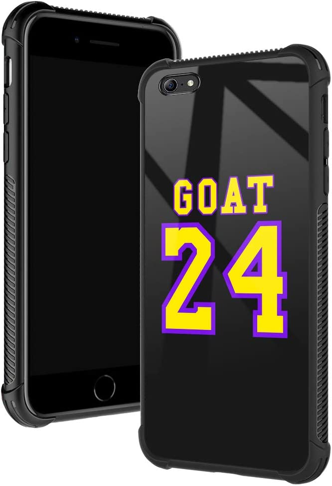 iPhone 6s Plus Case,Goat 24 Basketball iPhone 6 Plus Cases for Boys/Men,Fashoin Design Four Corners Shock Absorption Non-Slip Stripe Soft TPU Bumper Frame Case for iPhone 6/6s Plus 5.5 inch Purple