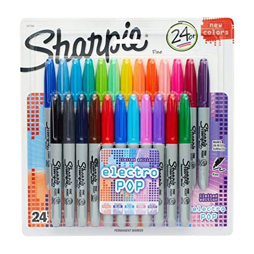 Sharpie Fine Electro Pop Marker, Fine Point, Assorted, 24/Pack (1927350), Package May Vary -