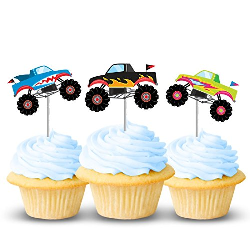 (Monster truck cupcake toppers 12 ct - Thick Card-stock toppers - Great for boy birthday parties or celebrations)