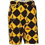 Royal & Awesome Swing Under Construction Patterned Mens Golf Shorts, 36'