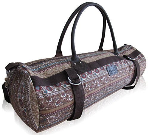 Yoga Mat Carrier Bag with Zippered Storage Pocket and Carrying Strap, Fits Standard and Thick Mats, including all sizes small, medium, Large, and XL(Dark Pattern)