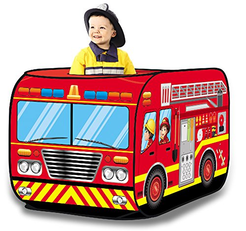 Fire Engine Truck Pop Up Play Tent - Foldable Indoor/Outdoor Playhouse for - Fire Childrens Engine