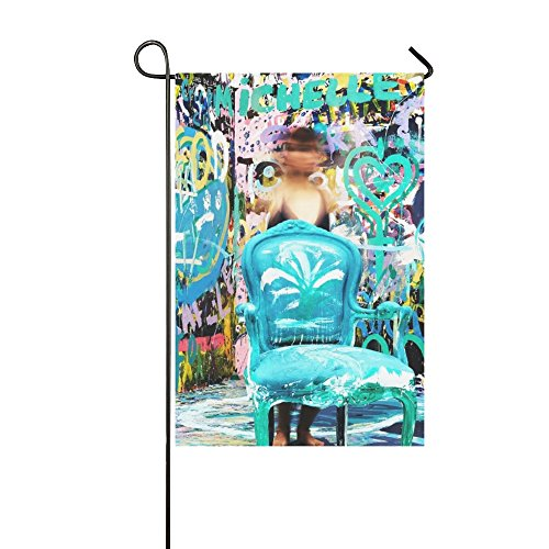 Home Decorative Outdoor Double Sided Chair Table People Girl Wall Art Graffiti Mural Garden Flag,house Yard Flag,garden Yard Decorations,seasonal Welcome Outdoor Flag 12 X 18 Inch Spring Summer Gift