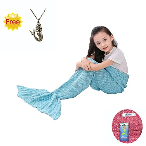 [SkySea Soft and Warm Quilt Knitted Mermaid Tail Blanket for Kids, Light Blue] (Barbie Costume Tutorial)