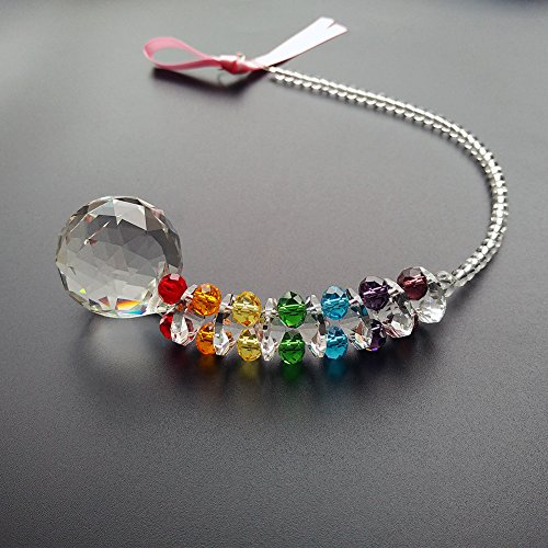 Newmerry Crystal Suncatcher 30mm Crystal Prism Ball Icicle Pendant Chakra Crystal Hanging Light Suncatcher Window Car Rear View,Pack of 2 by Newmerry (Image #2)
