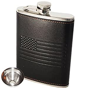 OUTZIE Slim Hip Flask with Soft Touch Cover and Funnel, 8-Ounce, Black