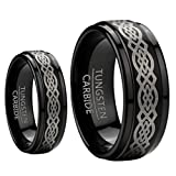8mm Men & 6mm Women Black Tungsten Carbide Wedding Band Ring Set W/laser Etched Celtic Design