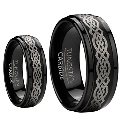 Hers Tungsten Etched Design - His & Her's 8MM & 6MM Black Tungsten Carbide Wedding and Engagement Bridal Band Ring Sets w/Laser Etched Celtic Design