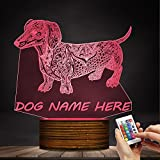 Cute Temperament Abstract Dachshund 3D Night Light Custom Name 3D Optical Illusion Light Glowing LED Lamp Pet Lover Owner Lighting Gift