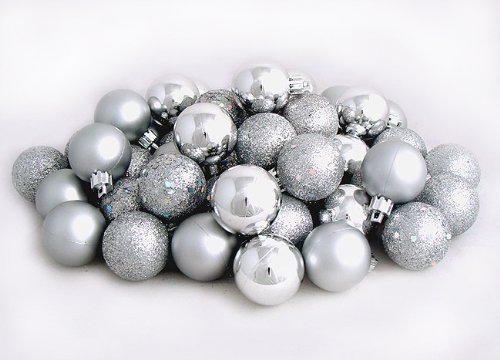 60ct Silver Splendor Shatterproof 4-Finish Christmas Ball Ornaments 2.5'' (60mm) by Vickerman (Image #1)