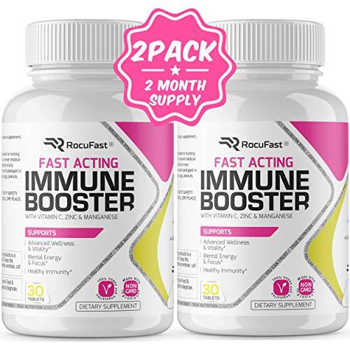 Immune Booster Vitamin C Zinc Immune Support Fast Acting Antioxidant w/ Vitamin D, B6, B12, E Supplement Capsules Faster…
