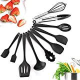 iHomey Silicone Kitchen Utensil Set, 10 Nonstick/Heat Resistant Cooking Utensils - Tongs, Whisk, Spoons, Spatulas, Ladle, Flexible Turner, Pasta Server, Brush - Dishwasher Safe(Black)